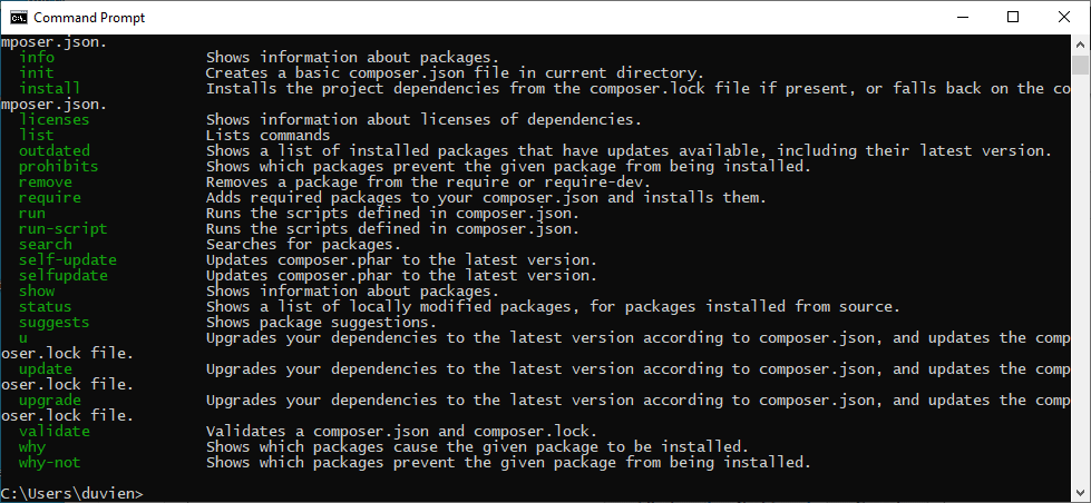 composer in command prompt