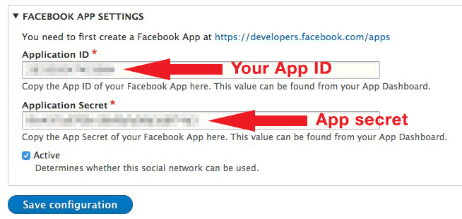 FB API settings