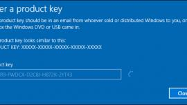 Windows 10 product key screen